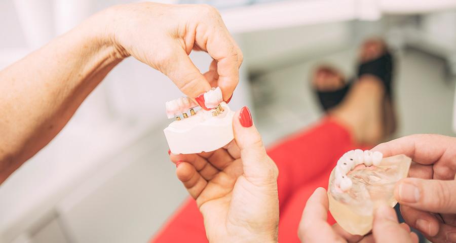 Patientin hält Modell von Zahnimplantaten in der Hand